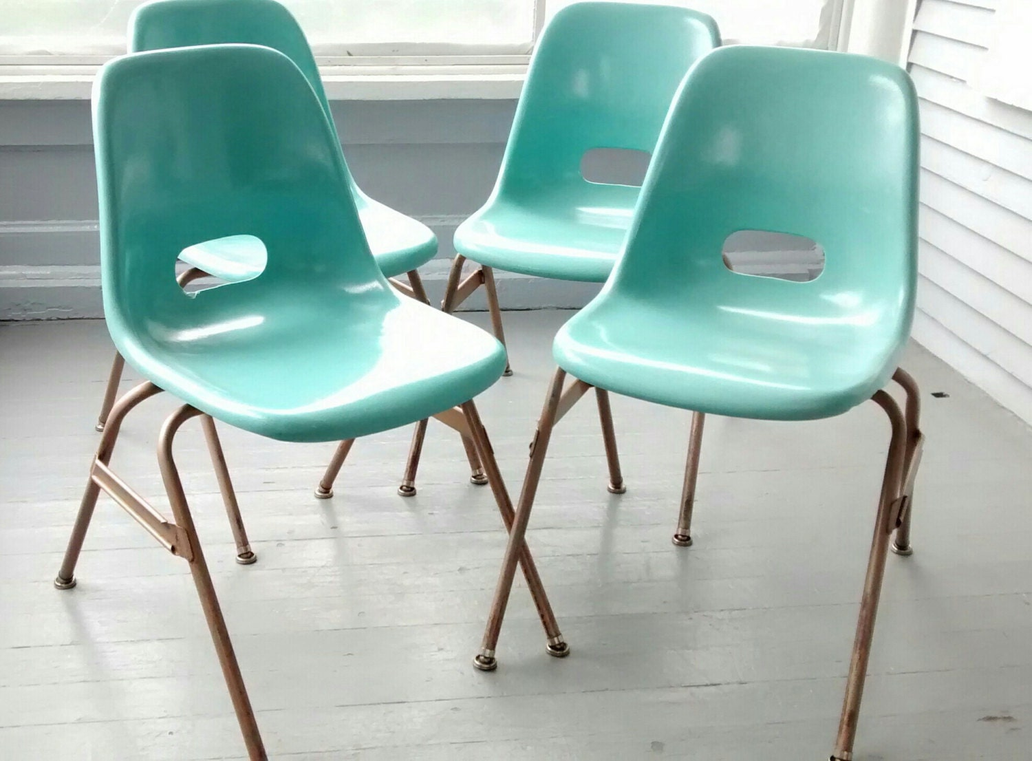 Beautiful Fiberglass Chairs Krueger Vintage Mid Century