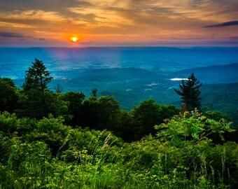 Sunset over the Shenandoah Valley, Shenandoah National Park, Virginia - Landscape Photography Fine Art Print or Wrapped Canvas