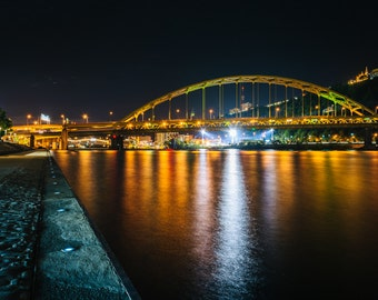 Fort Pitt Bridge at night, seen from Point State Park, in Pittsburgh, Pennsylvania - Urban Photography Fine Art Print or Wrapped Canvas