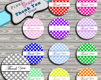 Printable round label Thank you polka dot circle sticker 2 in party favor, homemade gift, decoration, instant download