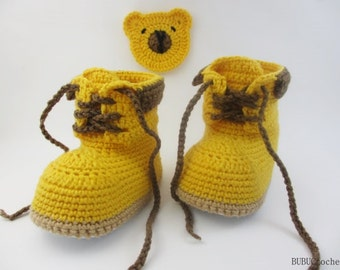 """Crochet boots baby boys booties """"Woodsman"""" Construction Boot Crochet , Yellow,Crochet Baby Boots, street shoes , Baby shoes, Crochet"""