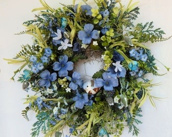 "Summer Country Cottage Floral Wreath ""Forget Me Not"" w/Blue Flower Wreath, Flower wreath, Blue Bird Wreath, Door Wreath, Wall Decor"