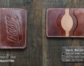 Handmade leather Card Wallet with custom image