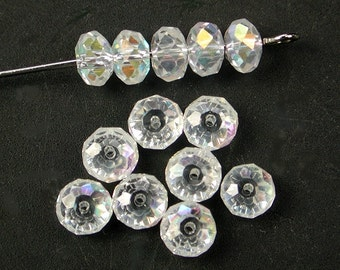 Faceted AB Cubic Zirconia (CZ) Rondelle Beads 6mm (8)