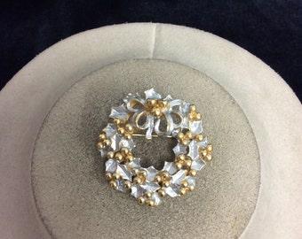 Vintage Silver Enameled Wreathe Pin