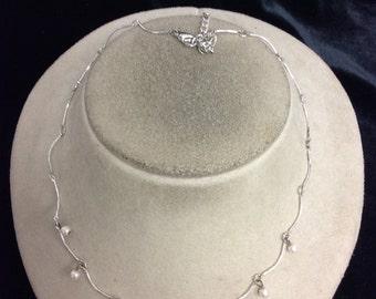Vintage Dangling Faux Pearl Necklace