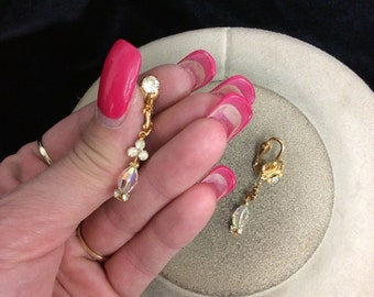 Vintage  Aurora Borialis & Rhinestone Dangle Earrings