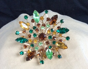 Vintage Large 3-D Multi Colored Rhinestone Floral Pin