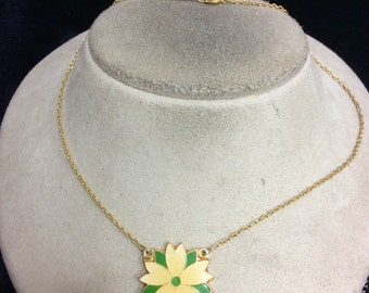 Vintage Yellow & Green Enameled Floral Pendant Necklace