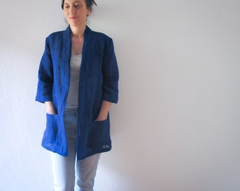 linen jacket blue - without buttons - with belt