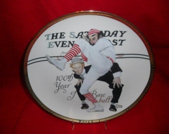 Sports Impressions 100th Year Of Baseball Saturday Evening Post Plate by Norman Rockwell FREE SHIPPING!