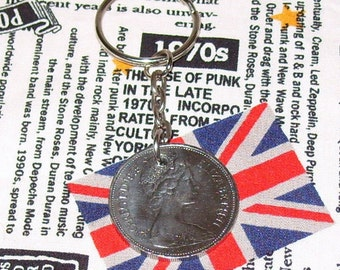 1975 British Old Large Ten Pence Coin Keyring Key Chain Fob Queen Elizabeth II