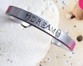 Dream Mantra bracelet - adjustable - handstamped