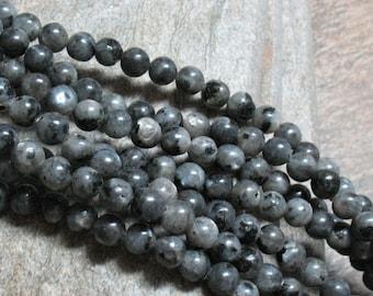 """6 mm Larvikite Beads """"B"""" Grade, 15.5"""" strand - Item B0401"""