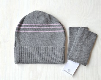 Gray Merino Angora Beanie, cap with soft pink stripes and suitable wrist warmers, arm warmers as set