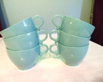 SALE Vintage Melmac Melamine Cups Set of Six Turquoise Coffee or Tea Cups