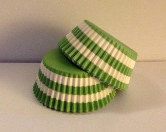Clearance! 75 count - Greaseproof Lime Green Rugby Stripe design standard size cupcake liners/baking cups