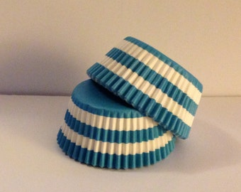 Clearance! 75 count - Greaseproof Teal/Aqua Rugby Stripe design standard size cupcake liners/baking cups