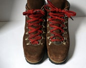 Vintage Chocolate Suede Hiking Boots Made in Italy Quicklace US Size 8