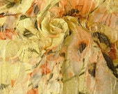French floral sequined & corded Lace fabric by yard --peach, green, multi, 50' wide