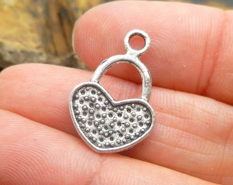 12  Silver Heart Charms -  Lock Charms - Wedding Charms -Jewelry Making or Scrapbooking -MC0047