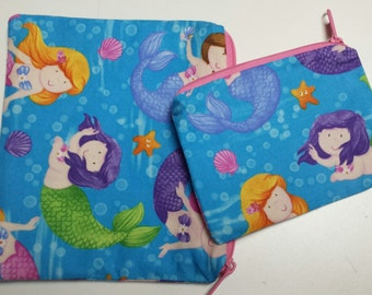 Reusable Sandwich Bag Set, Mermaids, Snack Bags,  Gadget Bags, Nylon lining with Zipper Closure.