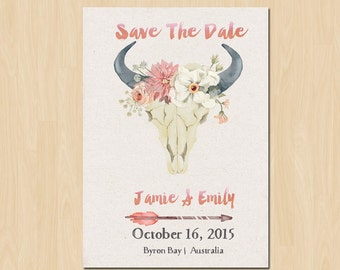 Pretty Bohemian Save The Date // Boho Wedding // Country Wedding - Printable Save The Date for a Rustic Wedding