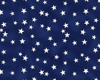 Blue stars fabric by the yard - blue fabric - #15362
