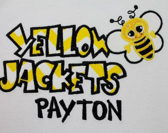 Yellow Jackets Personalized Bodysuit for Boys and Girls with Baby Yellow Jacket Short Sleeved