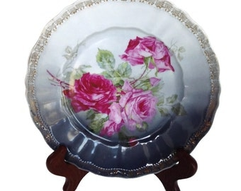 Antique Carl Tielsch plate scalloped edge roses and gold gild