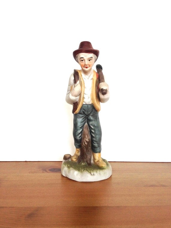 Vintage ceramic figurine man with axe man cave decor gifts under 10 dollars