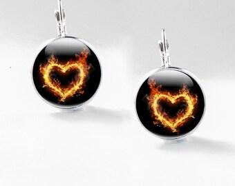 Glass Heart Jewelry - Heart earrings - Flame Picture Heart Jewelry (GHJ)