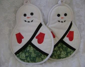 Snowmen Potholders,Oven Mitts, Hot Pads, Pot Holders,Pocket Potholders, Snowman Kitchen