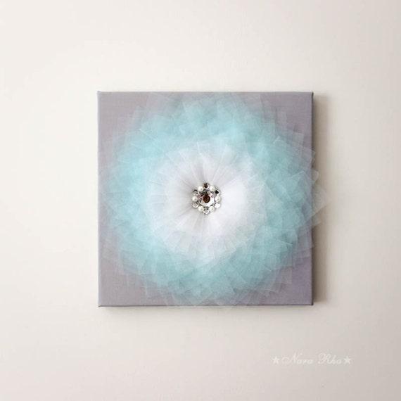 Aqua flower flower decor nursery art 3d flower canvas by for Room decor embellishment art 3d