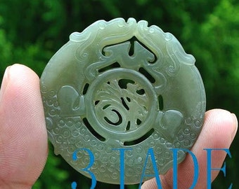 Natural Hetian Nephrite Jade Double Dragons Blessing Fortune Pendant Talisman -G025461