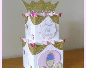 Princess Cinderella Inspired Carriage & Bows White, Pink and Gold