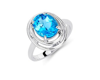 14K White Gold Oval Blue Topaz Ring, Blue Topaz Ring, Gold Ring, Fancy Ring, Fancy Jewelry, Blue Topaz Jewelry, Gold Jewelry, Blue Topaz