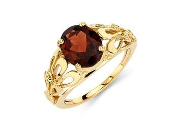 14K Gold Oval Garnet Ring, Garnet Ring, Gold Ring, Fancy Ring, Fancy Jewelry, Garnet Jewelry, Gold Jewelry, Garnet