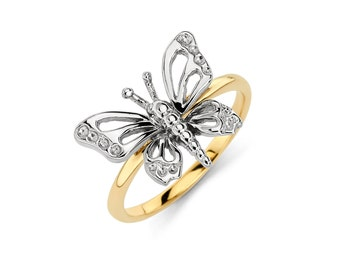 14K Gold Butterfly Ring, Butterfly Ring, Butterfly Jewelry, Gold Butterfly, Gold Ring, Fancy Ring, Fancy Jewelry, Butterfly