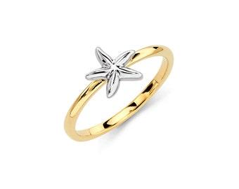 14k Two-Tone Starfish Ring, Gold Starfish, Starfish Ring, Gold Ring, Starfish, Starfish Jewelry, Gold Jewelry, Star Fish, Nautical Jewelry
