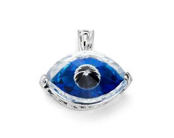 Sterling Silver Evil Eye CZ Pendant, Evil Eye Pendant, CZ Pendant, Evil Eye Jewelry, CZ Jewelry, Greek Jewelry, Greek Pendant
