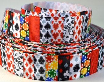 """1"""" Poker, card game grosgrain ribbon"""