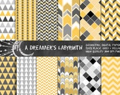 Geometric Digital Papers-Black Grey and Yellow 12x12