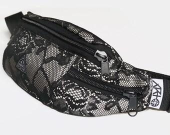 Hip Pack Black Lace, Fanny Bag , Fanny Pack, Bum Bag, Hip Bag