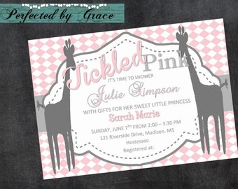 Shower Invitation for Baby Girl With Giraffes Tickled Pink