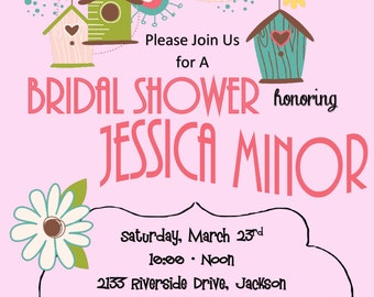 Printable DIY Bridal Shower with Light Pink / Coral Background and Birds and Birdhouses Customizable