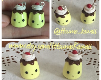 Handmade Ready to Ship Polymer Clay Kawaii Flan/Pudding with Whipped Cream and Strawberry Toppings