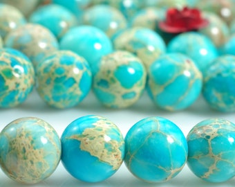 47 pcs of Blue Emperor stone smooth round beads in 8mm