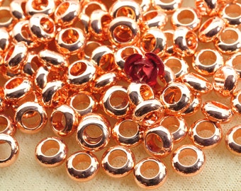 50 pcs of  Rose Gold plated bead,smooth bead,  rondelle bead,Copper Spacer beads  in 7mm