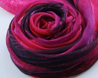 Deep Pink Silk Scarf - Medium VioletRed Mulberry Silk Chiffon Scarf - AS2015-26